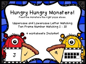 Hungry Hungry Monsters Letter and Number Matching Activiti