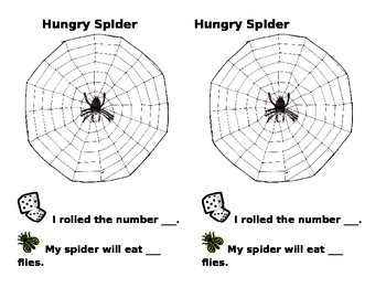 Hungry Spider- dice counting game