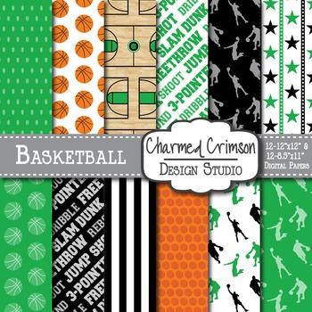 Hunter Green Basketball Digital Paper 1263