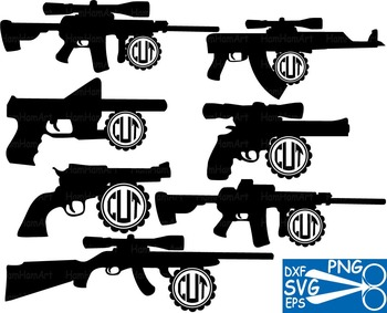 Hunting Gun Arms Clip Art svg monogram outline military vi