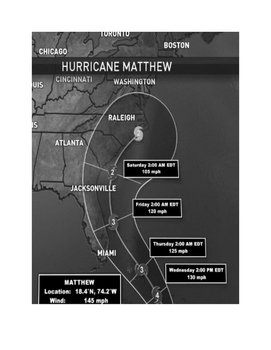 Hurricane Matthew:  Interpreting  latitude, longitude, win