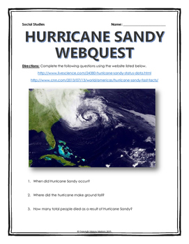 Hurricane Sandy - Webquest with Key (Facts and Significance)