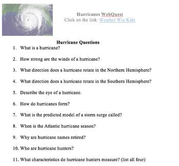 Hurricanes Web Quest