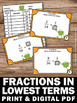 Simplifying Fractions in Lowest Terms Task Cards Math Cent