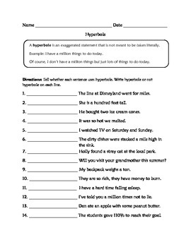 Hyperbole Worksheets: Hyperbole Worksheets   Rringband,