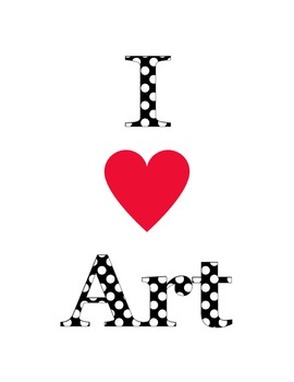 FREE I Heart Art Poster 8.5x11 for the Art Classroom