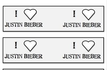 I Love Justin Bieber Pencil Flags