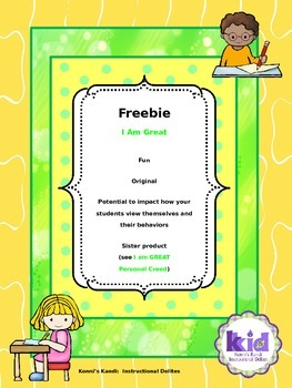 I AM GREAT FREEBIE:  Promotes positive behavior change & s
