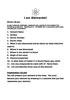 """""""I Am Elemental"""" Activity for Science unit on matter"""