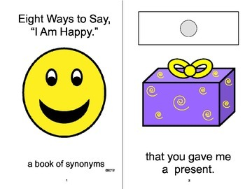 """I Am Happy"" Synonyms Adapted Velcro Book, SPEECH THERAPY,"