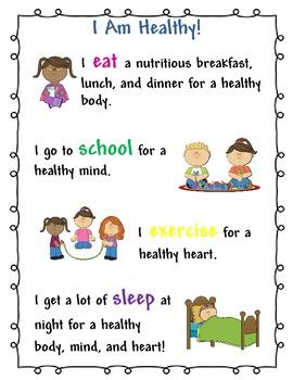 I Am Healthy Kids Poster for School Nurse and Health Teacher