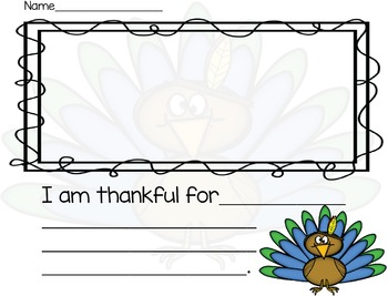 I Am Thankful For... Writing Page