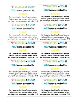 """""""I"""" Believe in You! Motivational Cards"""