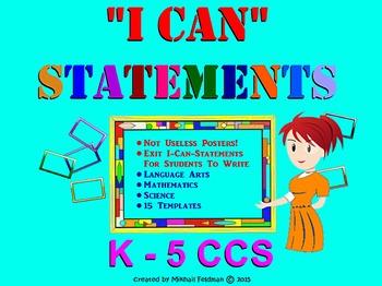 Students' I CAN STATEMENT Writing Templates: Language Arts