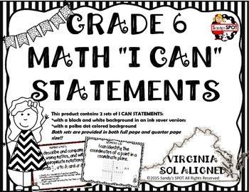 I CAN STATEMENTS VIRGINIA SOL MATH GRADE 6