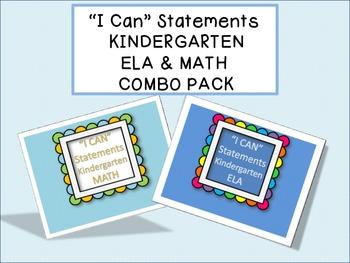 """I CAN"" Statements - KINDERGARTEN Combo Pack"