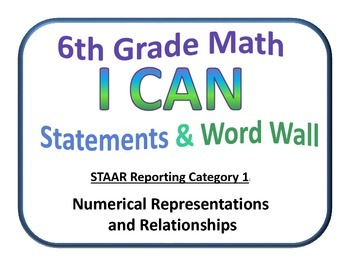 I Can 6th Grade Math and Word Wall (Set 1 of 4) Texas