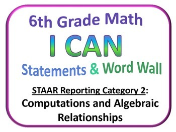 I Can 6th Grade Math and Word Wall  (Set 2 of 4) Texas