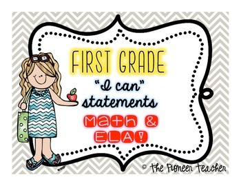 """I Can"" CCLS Statements {First Grade Math and ELA}"