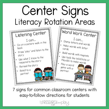 """""""I Can"""" Literacy Center Signs"""