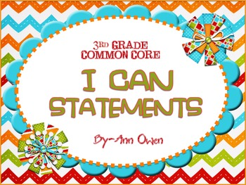 I Can Common Core Statements ~ 3rd Grade