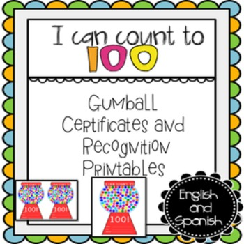 Count to 100 Certificate Recognition Printables (English a