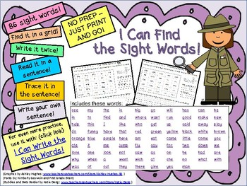 I Can Find the Sight Words! for High Frequency Words