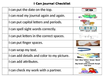 I Can Journal Writing Checklist