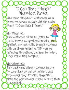 I Can Make Friends Worksheet Packet