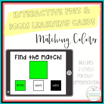 I Can Match Colors: 2 Interactive PDFs for Special Educati
