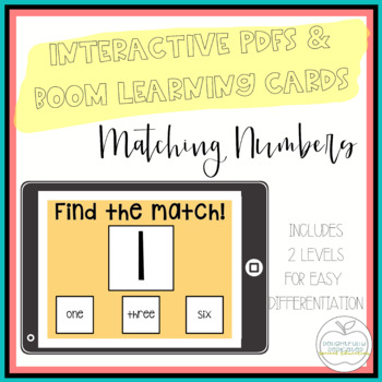 I Can Match Numbers: 2 Interactive PDFs for Special Educat