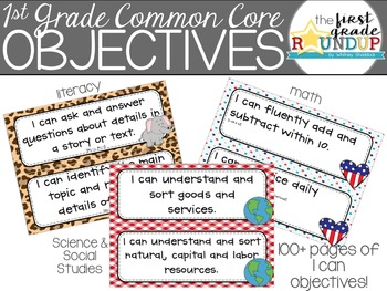 I Can Objective Cards: 1st Grade CCSS