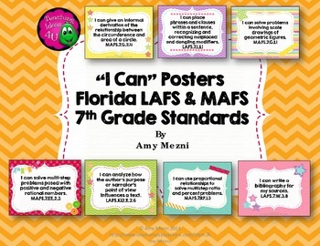 """I Can"" Posters 7th Grade Combo Pack LAFS & MAFS Florida S"