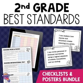 I Can Posters & Checklists Bundle 2nd Grade Florida LAFS M