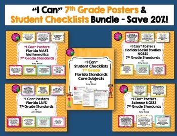 I Can Posters & Student Checklists Bundle 7th Grade Florid