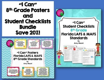 I Can Posters & Student Checklists Bundle 8th Grade Florid