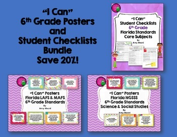 I Can Posters & Student Checklists Bundle 6th Grade Florid