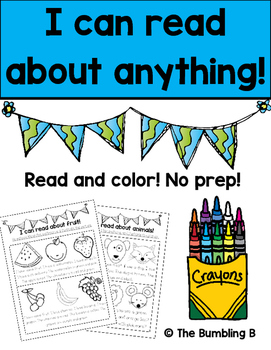 I Can Read About Anything! No Prep Read and Color! (Previe