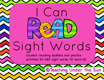 I Can Read Sight Words; F&P 50 Word List