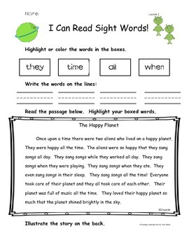 I Can Read Sight Words /High Frequency Words - Color and R