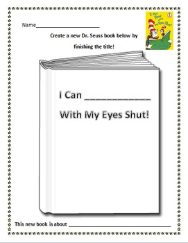 I Can Read With My Eyes Shut by Dr. Seuss title activity