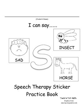 I Can Say.....   Speech Therapy Sticker Practice Book for S