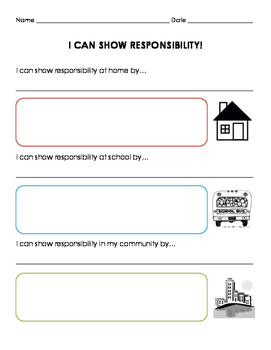 I Can Show Responsibility Worksheet