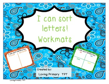 I Can Sort Letters!  Workmats