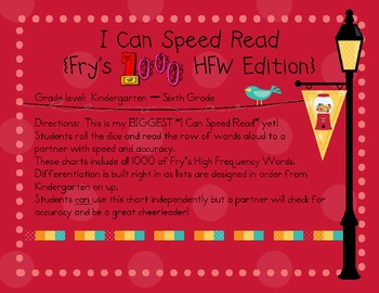 I Can Speed Read {Fry's 1000 HFW Edition}
