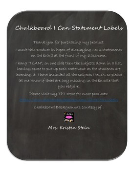 I Can Statement Labels