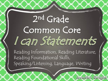 I Can Statement Posters Common Core 2nd Grade Quatrefoil P