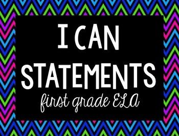 I Can Statements {1st, ELA, black & bright}