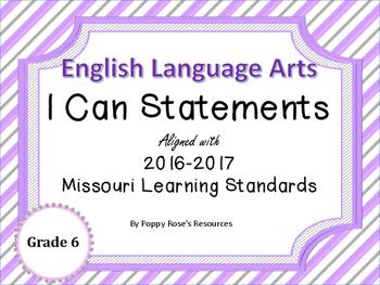 I Can Statements ELA Grade 6 Missouri Learning Standards