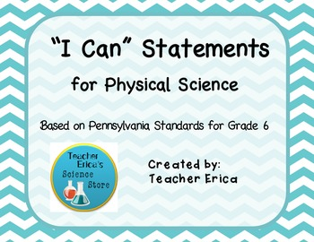 I Can Statements Gr 6 Physical Science